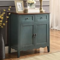 Vintage Blue Two-Tone Accent Wine Cabinet
