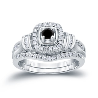 Auriya 14k 1/2ct TDW Halo Black Diamond Bridal Ring Set (H-I, I1-I2)