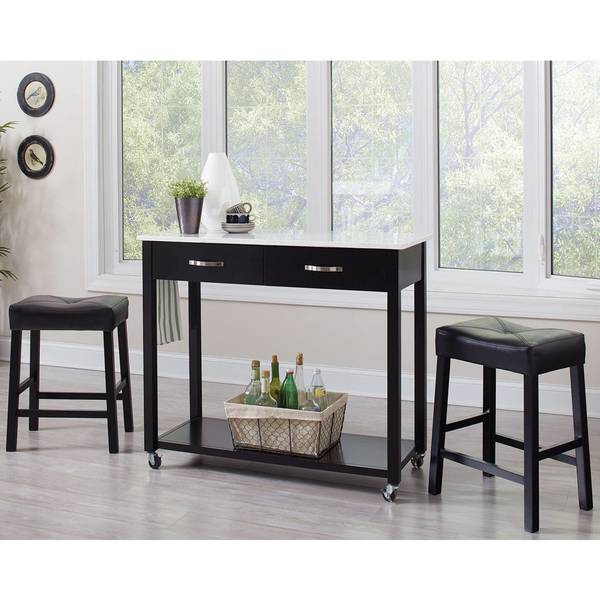 Shop Casual 3-piece Counter Height Kitchen Mobile Table ...