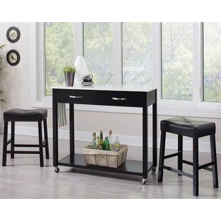 Casual 3-piece Counter Height Kitchen Mobile Table Set with Storage Drawers