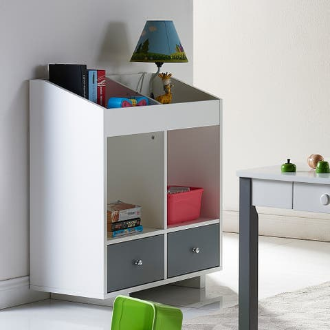 Versanora - Minimalista 2 Section Storage Stand - White/Grey