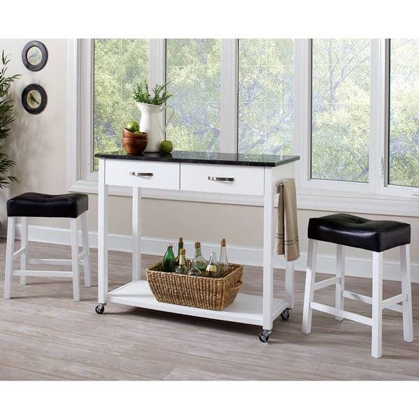 Casual 3-piece Kitchen Mobile Counter Height Table Set with Storage Drawers