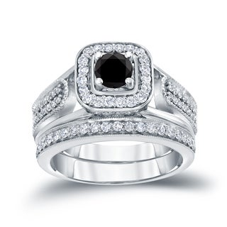 Auriya 14k 3/4ct TDW Black Round Diamond Vintage Inspired Bridal Ring Set (H-I, I1-I2)
