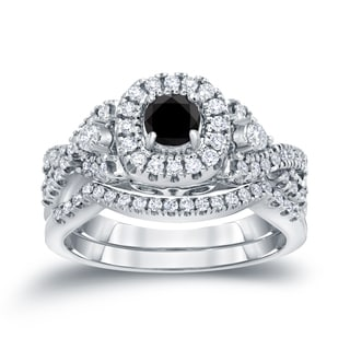 Auriya 14k 3/4ct TDW Halo Black Diamond Braided Bridal Ring Set (H-I, I1-I2)