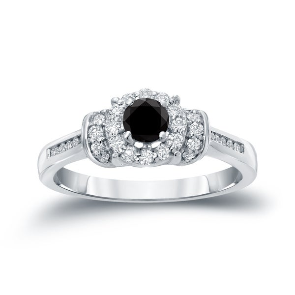 Auriya 14k Gold 1/2ct TDW Black Diamond Engagement Ring (H-I, I1-I2)