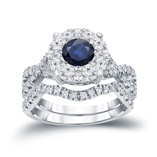 Auriya 14k 1/3ct Blue Sapphire and 7/8ct TDW Cluster Diamond Braided Bridal Ring Set (H-I, I1-I2)