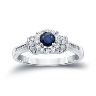 Auriya 14k 1/4ct Blue Sapphire and 1/4ct TDW Diamond Bridal Ring Set (H-I, I1-I2)