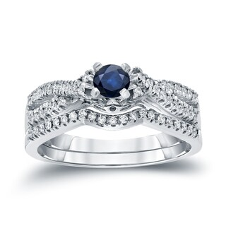 Auriya 14k Gold 1/4ct Blue Sapphire and 1/4ct TDW Diamond Braided Bridal Ring Set (H-I, I1-I2)