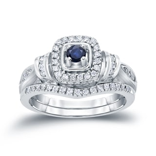 Auriya 14k Gold 1/5ct Blue Sapphire and 1/3ct TDW Diamond Bridal Ring Set (H-I, I1-I2)