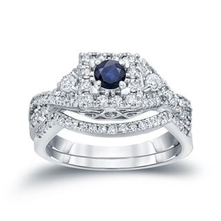 Auriya 14k Gold 1/4ct Blue Sapphire and 1/2ct TDW Diamond Braided Bridal Ring Set (H-I, I1-I2)
