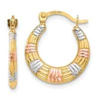 14 Karat & White and Rose Rhodium Hollow Textured Hoop Earrings