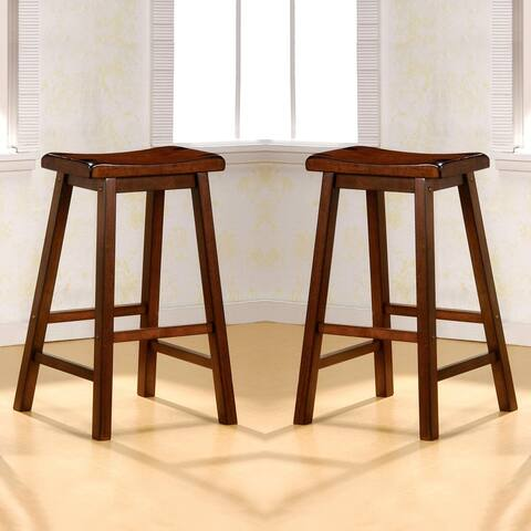 Casual Chestnut Saddle Design Stools (Set of 2)