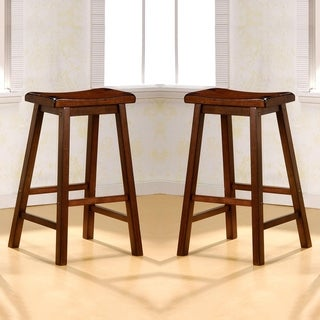 Link to Casual Chestnut Saddle Design Stools (Set of 2) Similar Items in Dining Room & Bar Furniture
