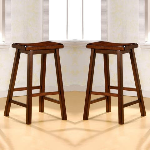 Casual Chestnut Saddle Design Counter Height Stools (Set of 2)