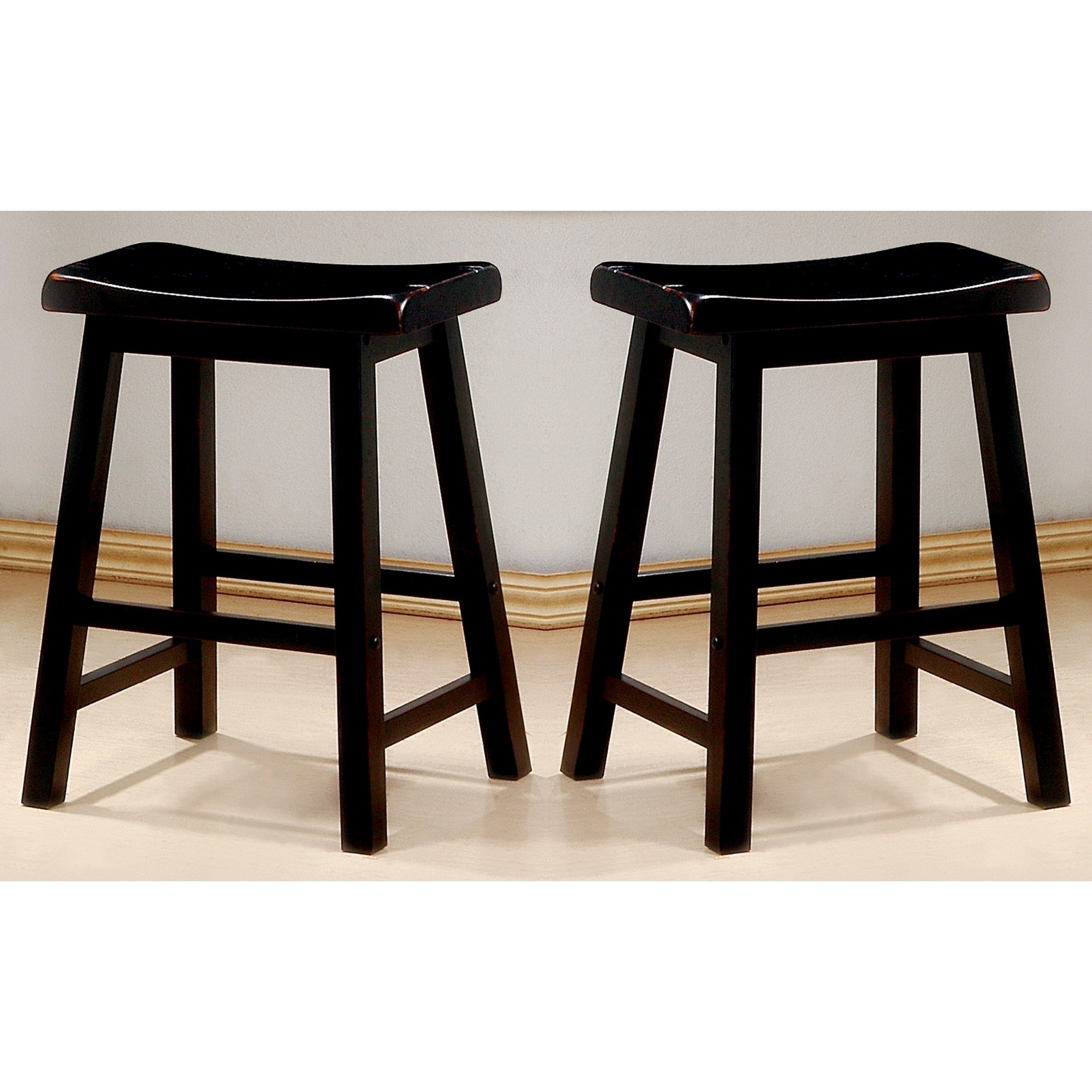 Groovy Casual Distressed Black Cherry Saddle Design Counter Height Stools Set Of 2 Pdpeps Interior Chair Design Pdpepsorg