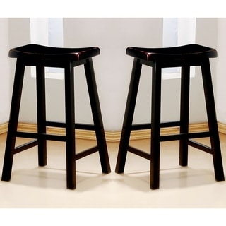 Casual Distressed Black Cherry Saddle Design Counter Height Stools (Set of 2)