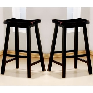 Casual Distressed Black Cherry Saddle Design Bar Stools (Set of 2)