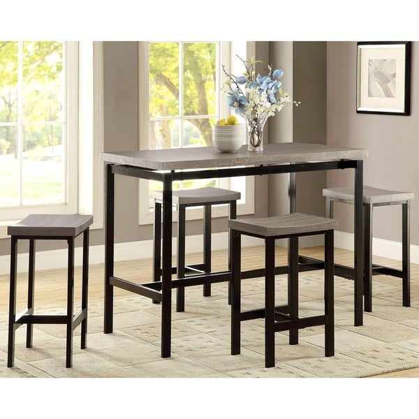 shop casual design two tone 5 piece counter height dining set free shipping today overstock. Black Bedroom Furniture Sets. Home Design Ideas