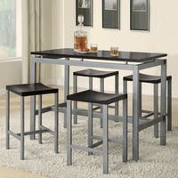 Casual Black Floating Top Design 5-Piece Counter Height Dining Set