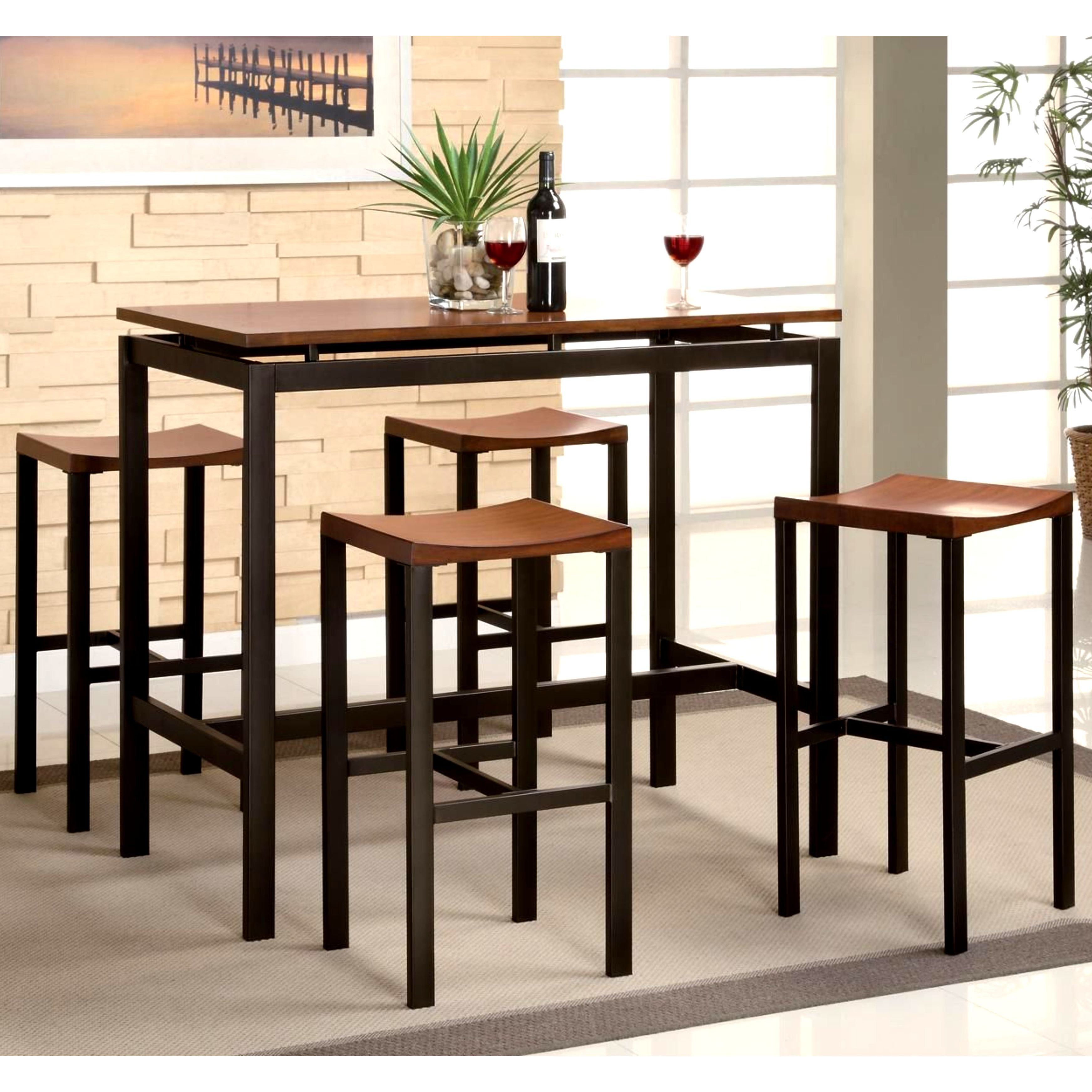 Phenomenal Casual Brown Floating Top Design 5 Piece Bar Height Dining Set Uwap Interior Chair Design Uwaporg