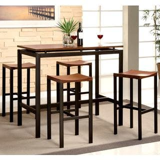 Casual Brown Floating Top Design 5 Piece Bar Height Dining Set