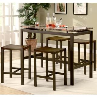 Casual Marble-like Floating Top Design 5-Piece Counter Height Dining Set