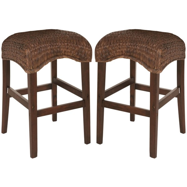 Montgomery Rattan Woven Backless Bar Stools (Set of 2)