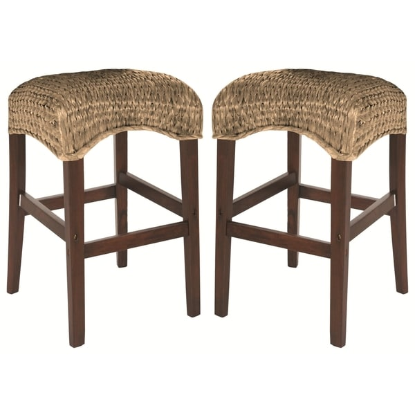 Shop Montgomery Natural Rattan Woven Backless Bar Stools