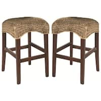 Montgomery Natural Rattan Woven Backless Bar Stools (Set of 2)