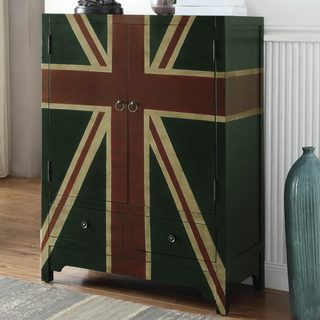 British Flag Design Vintage Accent Wine Cabinet
