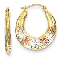 14 Karat & White and Rose Rhodium Hollow Flowers Hoop Earrings