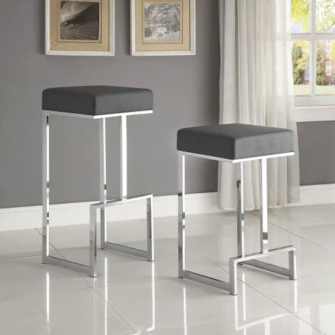 Contemporary Sleek Design Chrome with Grey or Black Seat Stool