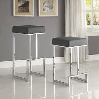 Contemporary Sleek Design Chrome Grey Stool