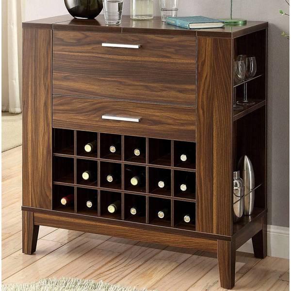 Dark Walnut Bar Wine Rack Cabinet with Drop-Down Top