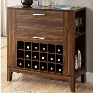 Dark Walnut Bar Wine Rack Cabinet with Drop-Down Top