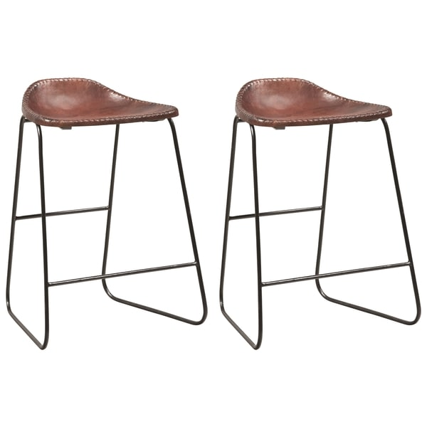 Shop Industrial Style Leather Saddle Seat Bar Stools (Set