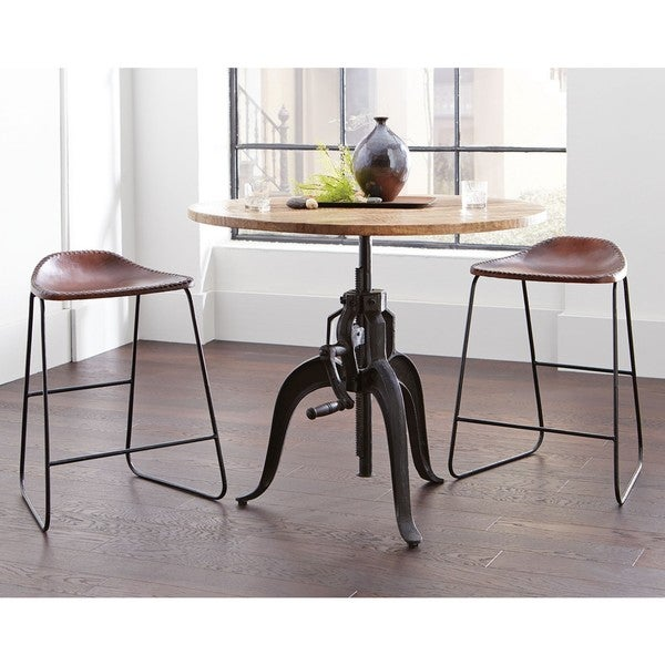 Superior Industrial Style Adjustable Crank Round Bar Table With Leather Saddle Seat  Dining Stools