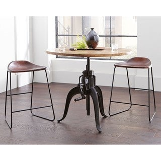 Industrial Style Adjustable Crank Round Bar Table with Leather Saddle Seat Dining Stools