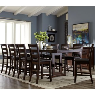 Trestle Base Counter Height Dining Set with Ladder Back Style Stools (3 options available)