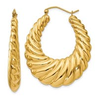 14 Karat Polished Scalloped Hoop Earrings