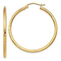 14 Karat Diamond-cut 2mm Round Tube Hoop Earrings