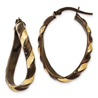 14 Karat & Brown Rhodium 3.7mm Wavy Hoop Earrings