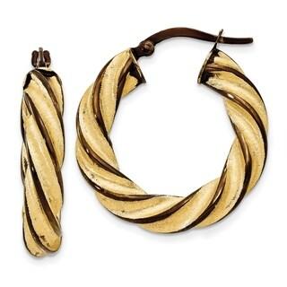 14 Karat & Brown Rhodium 5mm Twisted Hoop Earrings