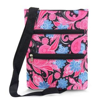 Zodaca Pink Paisley Women Small Messenger Cross Body Zipper Shoulder Bag