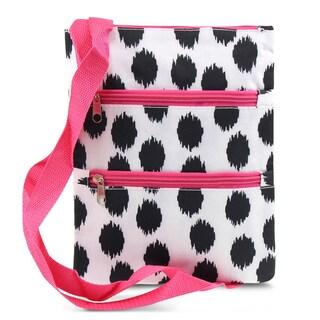 Zodaca Black Dots with Pink Trim Women Small Messenger Cross Body Zipper Shoulder Bag