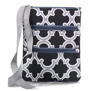 Zodaca Black Quatrefoil Women Small Messenger Cross Body Zipper Shoulder Bag