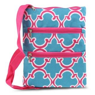 Zodaca Blue Quatrefoil Women Small Messenger Cross Body Zipper Shoulder Bag