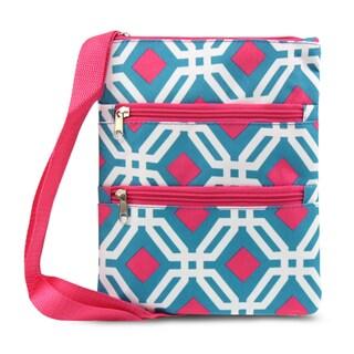 Zodaca Blue Graphic Women Small Messenger Cross Body Zipper Shoulder Bag