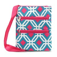 Zodaca Blue Graphic Women Small Messenger Cross Body Zipper Shoulder Bag