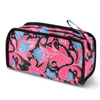 Zodaca Pink Paisley Travel Cosmetic Makeup Case Bag Pouch Toiletry Zip Organizer